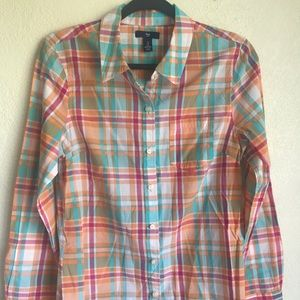 4/$20 Gap colorful gingham button down top S
